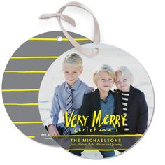 Show your 'Very Merry Days' with these Ornament Cards by Petite Alma for Tiny Prints in a vibrant Sunny Yellow