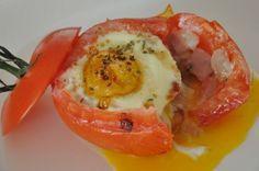 Breakfast Bird Nests - tomatoes, olive oil, garlic clove, onion, turkey bacon, dried oregano, salt, pepper, eggs