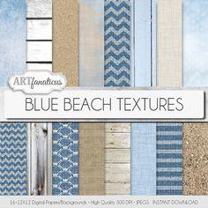 Digital papers beach BLUE BEACH TEXTURES beach by Artfanaticus