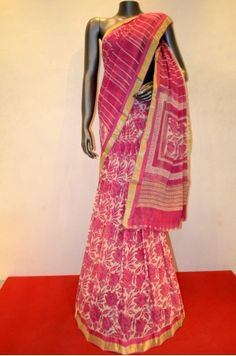 Pink Floral Pure Georgette Silk Saree With Zari Border Product Code: SSJG00390