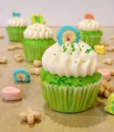 Lucky Charms Cupcakes with marshmallow buttercream