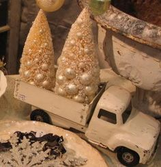 ♫ Baby it's cold outside...♫ Vintage Putz Christmas House DIY Decor Inspiration * Toy Truck Carrying Bottle Brush Trees * LOVE IT!! Neutrals and Pastels are Perfect for Valentine's Day or Easter Decor too!
