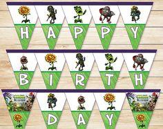 Plants Vs Zombies Birthday Banner Garden di ApothecaryTables