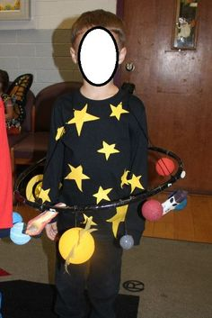 solar system / space halloween costume  made from styrofoam balls and a hoola hoop