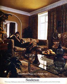 Very Diana Rigg, very Sanderson. 1973 interior design advertisement.
