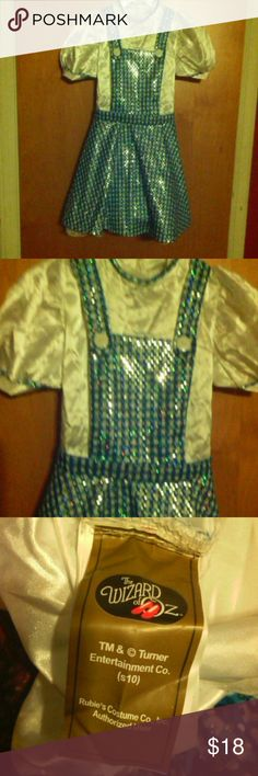 Dorothy Wizard of Oz Deluxe Costume Dress Adorable, deluxe metallic accent, one piece design, Velcro closure, attached tulle lace trim slip, 100% polyester, worn only a few times, girls sz m 8/10 24th & Ocean Costumes