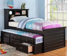 Harriett bee dolson black finish wood panel design twin trundle bed bookcase headboard and drawers. This set includes the Bookcase headboard, Trundle bed pull out 3 built in drawers. Some assembly required. Bed With Drawers, Twin Size Bedding, Bed Storage, Twin Bed With Drawers, Trundle Bed With Storage, Bedroom Sets, Bed, Bedroom Furniture, Furniture