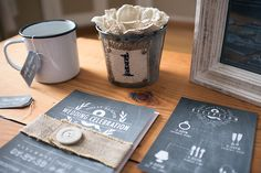 Chalkboard and Burlap Invitation Suite with Burlap Table Number | Design by http://clarkcreativewi.com