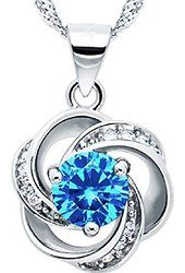 """""""Shall I Compare Thee to A Summer's Day"""" [Azure] Sterling Silver Flower Pendant Necklace  $69.00 Prime Pearl of Dream"""