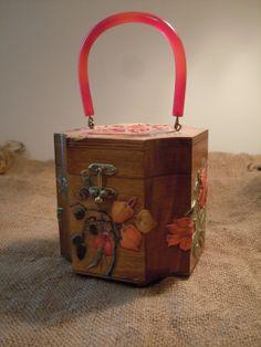 Vintage Wood Purse with Bakelite Handle Decoupage by PackandAlleys, $43.00