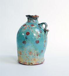 Сhris Taylor ceramics. Blue Cider Jar. Terracotta with slip, underglaze print and lustre, 2012.
