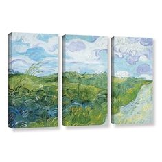 ArtWall Field with Green Wheat by Vincent Van Gogh 3 Piece Gallery-Wrapped Canvas Set Buy Canvas, Canvas Fabric, Canvas Wall Art, 3 Piece Painting, Painting Prints, Vincent Van Gogh, Online Art Gallery, Landscape Paintings, Wrapped Canvas
