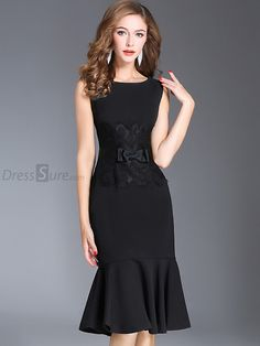 Buy Chic O-Neck Sleeveless Lace Stitching Bodycon Dress with High Quality and Lovely Service at DressSure.com