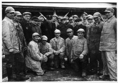 Lodz, Poland, Group photograph of porters and clercks from the ghetto.