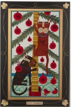 Chris Roberts-Antieau 2012 holiday collection: original fabric collage with hand painted frame Christmas Cats, Christmas Stuff, Merry Christmas, Chris Roberts, Sensory Art, Cat Quilt, Funky Art, Cat Crafts, The Night Before Christmas
