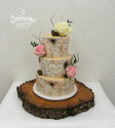 Weding cake - birch bark - cake by Stániny dorty