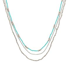 This Silvertone & Turquoise Bead Layered Necklace by Sparkling Sage is perfect! #zulilyfinds
