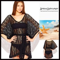 "❗️1-HOUR SALE❗️Boho Tunic Lace Mini Dress CoverUp NEW WITH TAGS RETAIL PRICE: $128    Boho Tunic Dress Eyelet Floral Crochet Lace Kimono Coverup   * V-neck front & pullover style   * Incredibly soft knit semi-sheer construction   * Wide 3/4 length long sleeves & an optional self-tie belt   * About 32"" long   * Relaxed & oversized A-line shirt silhouette   Fabric: 95% Polyester & 5% Spandex  Color: Black Item: 92700 # semi sheer backless shirt dress No Trades ✅ Offers Considered*✅  *Please…"