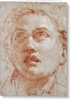 Head Of A Man Looking Up Greeting Card by Giovanni Battista Tiepolo