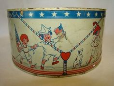 Adorable Vintage 1920s Tin Toy Drum Patriotic Red White Blue Americana