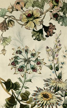 Japanese Fantasy Flowers  These colourful Art Deco floral images are fine art giclee reproductions of original designs used to produce hand-painted wallpaper and are from the TROWBRIDGE antique archives.