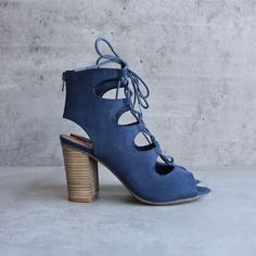 bc footwear - vivacious lace-up sandal in indigo - shophearts - 1