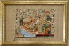 Ancient Egyptian Art - Egyptian Papyrus Painting of goddesses Hathor & Maat $74.00
