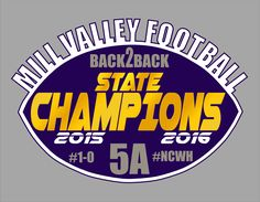 MV State Champs Car Decal.  Mill Valley Football Back to Back State Champs
