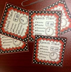 Speech Therapy time reminder cards. Great for keeping your schedule on track! Just tape or Velcro them to student desks. Multiple styles/colors.