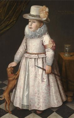 17th C. Dutch School PORTRAIT OF A BOY, FULL LENGTH, WEARING AN EMBROIDERED DRESS WITH A WHITE RUFF AND A PLUMED HAT, HOLDING A SPEAR AND PATTING A DOG. 1621