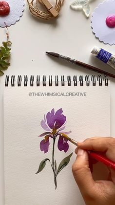 Easy Flower Painting, Acrylic Painting Flowers, Iris Painting, Flower Art, Watercolor Flowers Tutorial, Floral Watercolor, Art Floral, Watercolour, Flower Drawing Tutorials