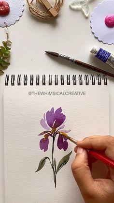 Watercolor Flowers Tutorial, Acrylic Painting Flowers, Floral Watercolor, Watercolor Paintings For Beginners, Flower Art, Merry Christmas, Nature Water, Black Flowers, Diy Cards