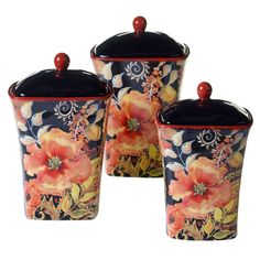 Found it at Wayfair - Watercolor Poppies 3-Piece Canister Set