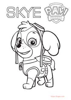 Skye Paw Patrol Cartoon Coloring Page For Kids