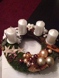 Christmas Time, Christmas Wreaths, Christmas Ornaments, Christmas Candle Decorations, Holiday Decor, Xmas Crafts, Diy And Crafts, Xmas Flowers, Candle Making Business