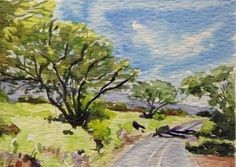 Vosberg Aceo Original Watercolor Trees On The Road To Hana Maui IslandHawaii