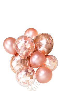 Rose Gold Confetti Balloon Bouquet - Bridal Shower Ideas - Wedding Decor - Baby Shower Decorations - Pink Party Decor - Blush Wedding - 30th Birthday Party - 21st Birthday #bridalshowers #babyshowers #partydecorations #weddings #birthdayparties #partydecor