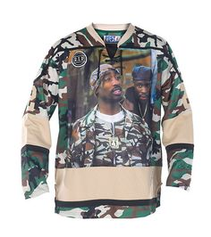 POST GAME Tupac jersey V neck with tie closure RIP shoulder patch detail Camouflage print throughout BIRDIE 2 on back
