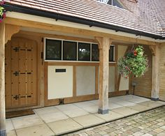 Oak framed buildings from Orlestone Oak Porch Uk, House With Porch, House Front, Front Door Canopy, Front Doors, Portico Entry, Oak Framed Extensions, Garage Extension, Oak Framed Buildings