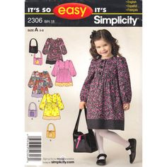 Girls Empire Prairie Dress Pattern Simplicity 2306 Long Sleeves Purse Girls Size 3 to 8 UNCUT