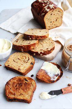 Cinnamon Raisin and Walnut Molasses Oat Bread - The Sweet and Simple Kitchen Bread Recipes, Baking Recipes, Cookie Recipes, Starter Recipes, Dessert Recipes, Desserts, Our Daily Bread, Bread And Pastries, Fall Baking