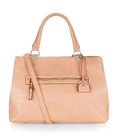 Peach Zip Front Tote Bag