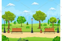 Container Design, Fashion Flats, Lanterns, Pikachu, Bench, Park, Illustration, Style, Swag