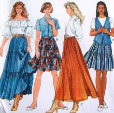 etsy plus patterns | EASY PLUS SIZE TIER & RUFFLE SKIRTS Sewing Pattern ~ SOLD!