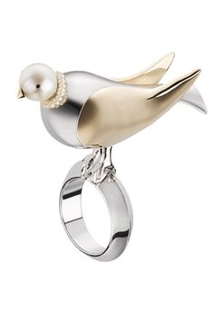 """Christian Dior""""Monsieur Dior"""" ring adorned with a bird with gold and palladium finish and a cream pearl.  VIEWING 5 OF 17 Christian D..."""