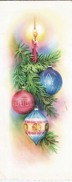 Vintage Christmas Card - Christmas Tree Ornaments & Candle with Mica Glitter