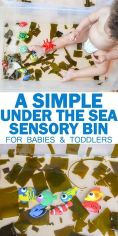 Under the Sea Sensory Bin | HAPPY TODDLER PLAYTIME Here is my absolute favourite under the sea sensory activity for babies and toddlers. It's so simple to set up but it's lots of fun! AND it's taste safe! #toddler #toddleractivities #sensoryplay