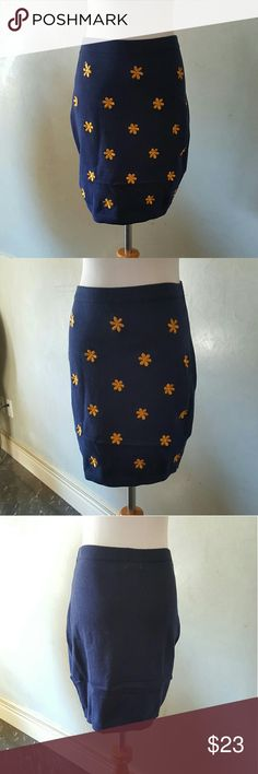 SALE! Sweater skirt Light sweater mini skirt.  Yellow flowers in the front has a nice amount of stretch to it.  100% cotton Chupchick  Skirts Mini