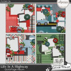 Life Is A Highway - QuickPage Album by Jamie. Created with the Life Is A Highway Collection by Connie Prince. Includes 4 12x12 album pages. saved in PNG format. Shadows ARE included. Scrap for hire / others ok.