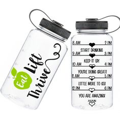 One of a Kind Motivational Water Bottle Tracker Bottle Eat Lift Thrive... ($18) ❤ liked on Polyvore featuring home, kitchen & dining, drink & barware, drinkware, home & living, pink and water bottles & vacuum flasks